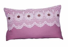 Crochet Lace Cushion cloth Pink 30x50 CM 30 x 50 CM 150gms Pink Machine ... - $22.00