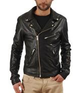 NEW Men's Black Real Leather Jacket Biker Racer Size 6 8 10 12 14 16 18 ... - $125.88+