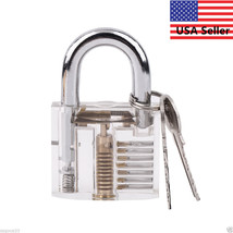 UNIQUE SEE~THROUGH-PRACTICE LOCK PIC PADLOCK WELL MADE+.999 GOLD$1,000 B... - $18.44