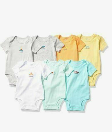 Amazon Essentials Baby 7-Pack Short-Sleeve Bodysuits , 18 Month