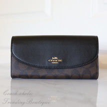 NWT!!  Coach F54022 Signature PVC Slim Envelope Wallet Brown/ Black - $67.59