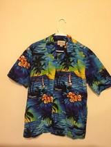 Vintage Mens Royal Creations Blue Made in Hawaii Cotton Hawaiian Shirt Sz M - $17.67