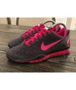 Nike Training Run Free Fit 2 Grey Black Pink Swoosh Womens Size 7 487789... - $44.55