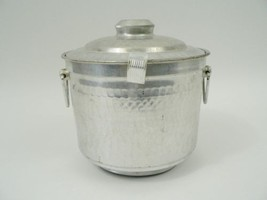 VTG Aluminum Ice Bucket Champagne Wine Cooler Barware Hammered Metal Loo... - $75.00