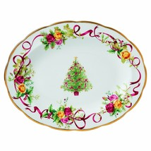 Royal Albert Old Country Roses Christmas Tree Oval Platter, 13-Inch NEW - $98.99