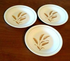 Vintage Golden Wheat Salad/Dessert Plates 22 K Gold By Knowles Set of 3 - $17.82