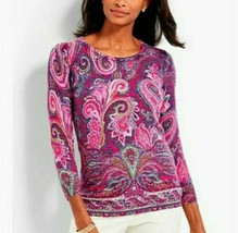 TALBOTS Soft Knit Pure Cashmere Pink Paisley Sweater Top Size Medium - $37.81