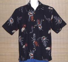 Cafe Havana Hawaiian Shirt Black Russet Gray Tropical Flowers Leaves Siz... - $19.80