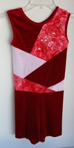 Rich Red White Velvet Glittered Leotard Unitard Sleeveless Fits 7-10 yea... - $16.82