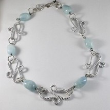 ALUMINUM NECKLACE WITH BLUE AQUAMARINE HAND-MADE IN ITALY 21 INCHES LONG image 2