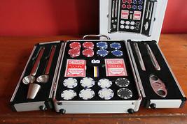 NIB BAR BUTLER The Rocks Barware Collection Poker Set Chips Cards Flasks... - $89.00