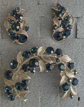 Vintage Blue Rhinestone WEISS Clip Earrings & Brooch Set Silver Tone Leaves - $24.99