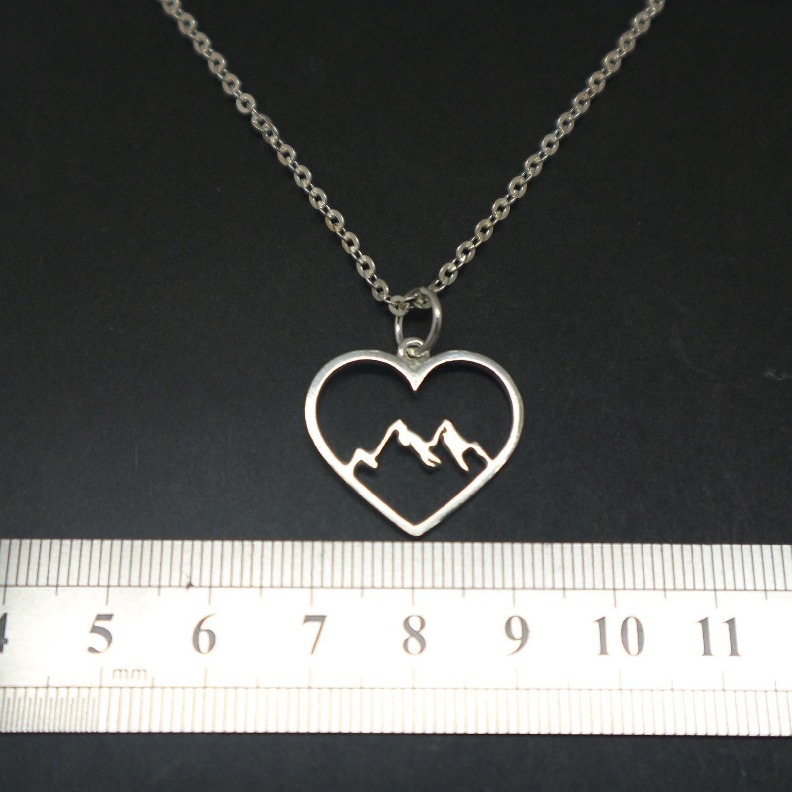 Mountain Range Heart Necklace Pendant image 4