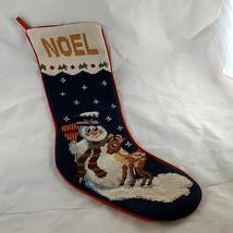 "Needlepoint stocking Snowman & Reindeer Christmas 19"" cotton lining & back - $19.79"