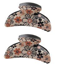 Set of 2 Korean Style Floral Claw Clips Orange