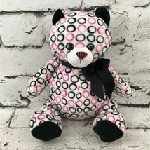 Ganz Bellabop Bear Plush Pink Black Circle Print Stuffed Animal Soft Toy... - $7.91