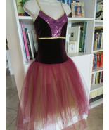 Weissman Adult MED. LONG BALLET DANCE DRESS BURGUNDY Purple w/ defect LOOK! - $8.79