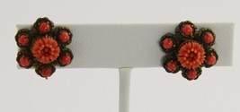 VINTAGE Jewelry VICTORIAN REVIVAL MOLDED CORAL FLOWER SCREW BACK EARRINGS - $15.00