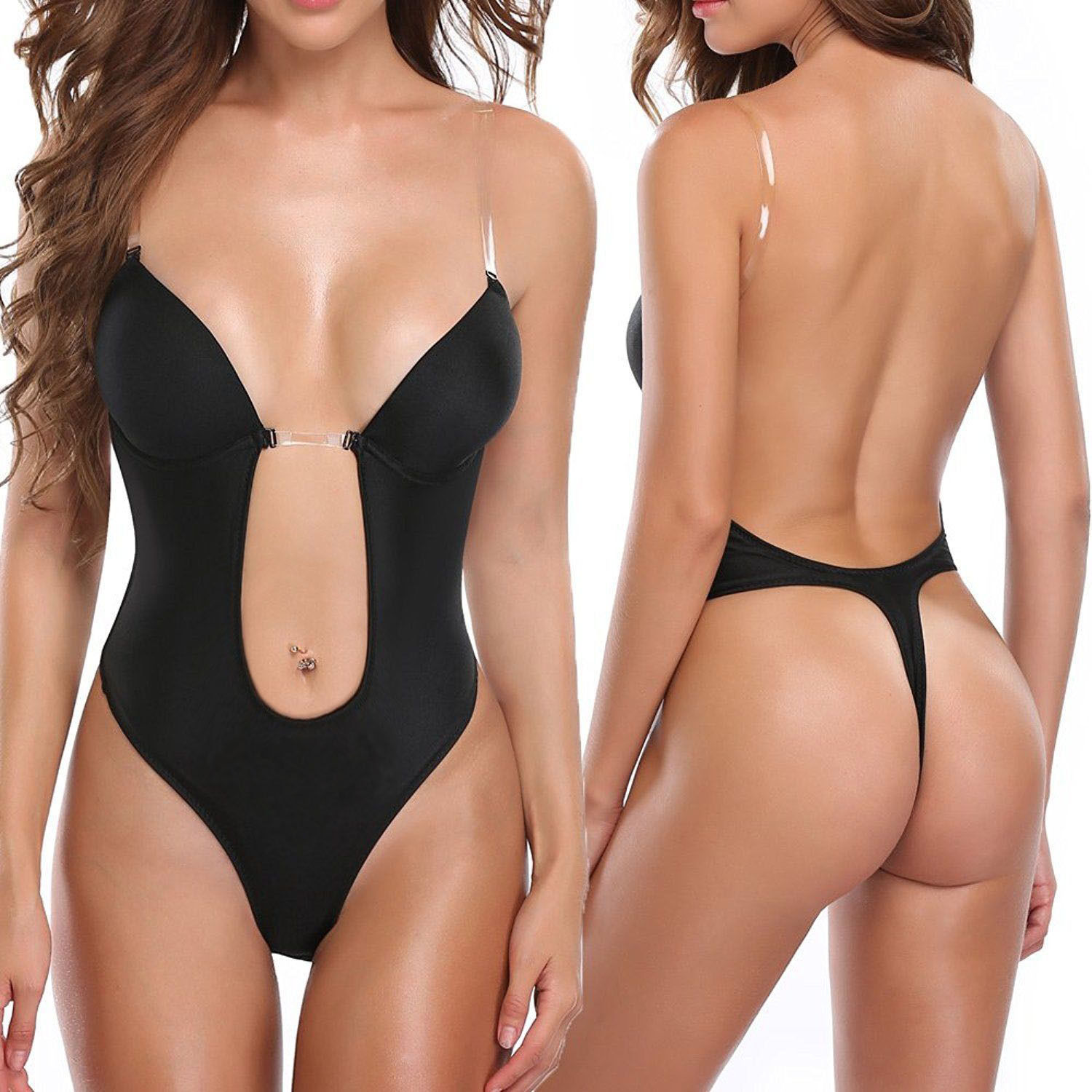 02bbcdb657 S l1600. S l1600. Previous. CONVERTIBLE CLEAR STRAP ULTRA LOW BACKLESS PUSH  UP FULL BODY SHAPER BIKINI THONG