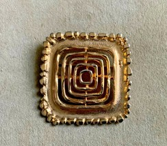 Vintage Coro Large Pin Brooch Square Abstract Gold Tone - $20.00