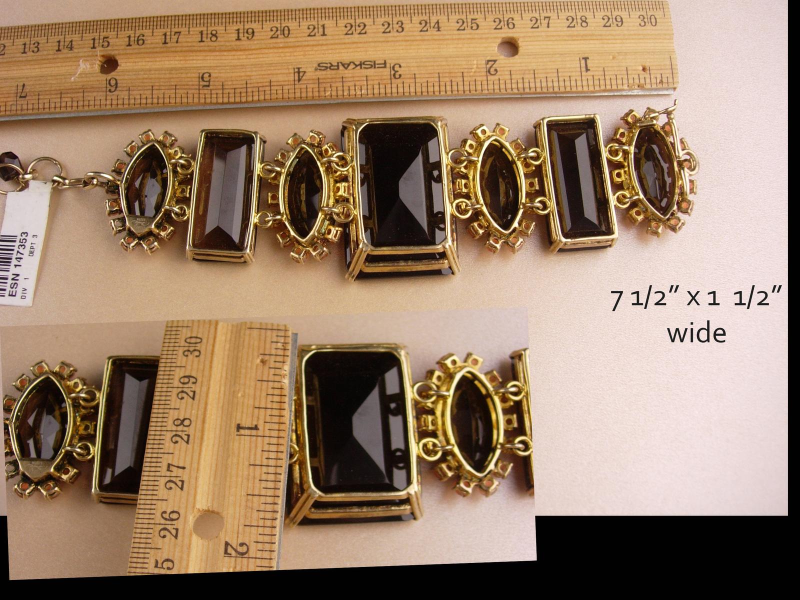 Dramatic BIG Bracelet - Smokey Quartz - Bounkit jewelry - original tag - stateme