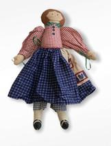 Vtg RagDoll Handmade Country Rustic Girl Gingham Decor Primitive Rag Dol... - $29.69
