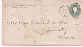 GREAT WESTERN MANUFACTURING CO. LEAVENWORTH, KA TO MEXICO 11/29/1897 ON ... - $2.68