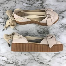 NEW Puma Womens Rihanna Cream Fenty Bandana Leather Creeper Flats Sandal... - £63.35 GBP