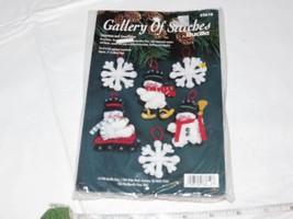 Gallery of Stitches Bucilla Snowmen Snowflakes 33610 6 felt ornaments Christmas  - $28.70