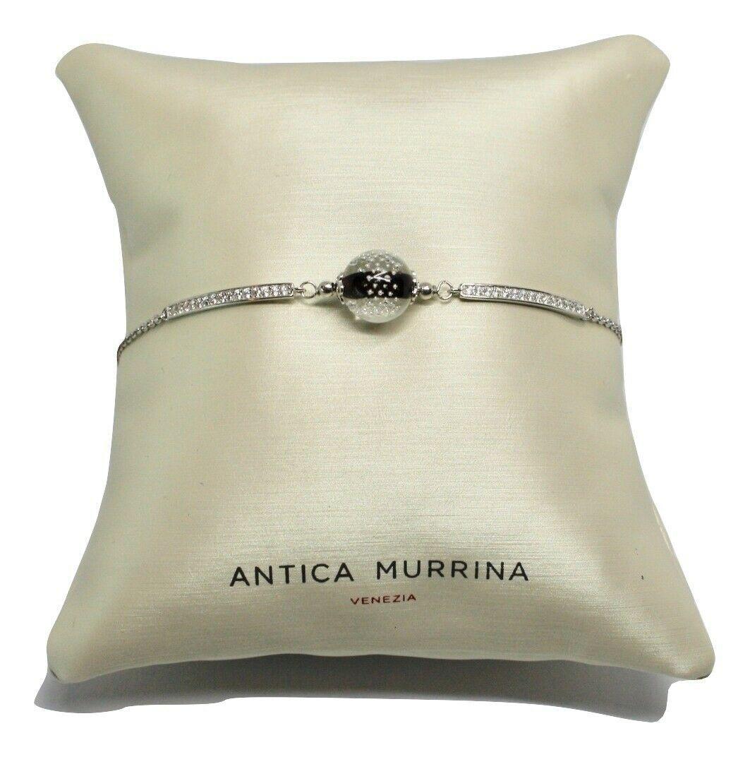 Bracelet Vintage Antique Murrina Venezia 925 Silver Murano Glass Charms Bead