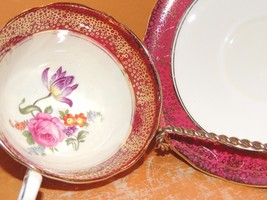 Aynsley England Bone China Cup & Saucer Maroon with gold bubble/ bubbles... - $14.99