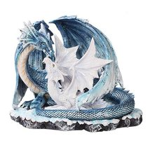 Beautiful Dragon Family Mother with Young Dragon Figurine - £27.41 GBP