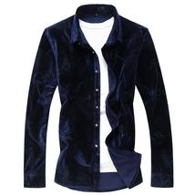 2018 autumn shirt men's casual velvet long sleeves Business shirts men H... - $79.20
