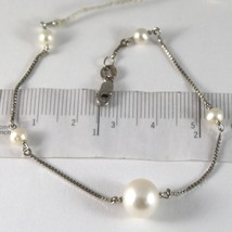 Bracelet White Gold 750 18K White Pearls Diameter 4 & 10 mm Chain, Veneta - $306.17