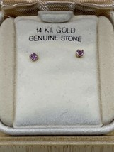 Vtg 1970's 14K Gold Post Genuine Stone Stud Earrings NOS Birthstone Pink - $46.28
