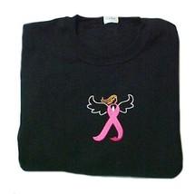 Breast Cancer T Shirt XL Pink Awareness Ribbon Angel Black Embroidered U... - $23.25