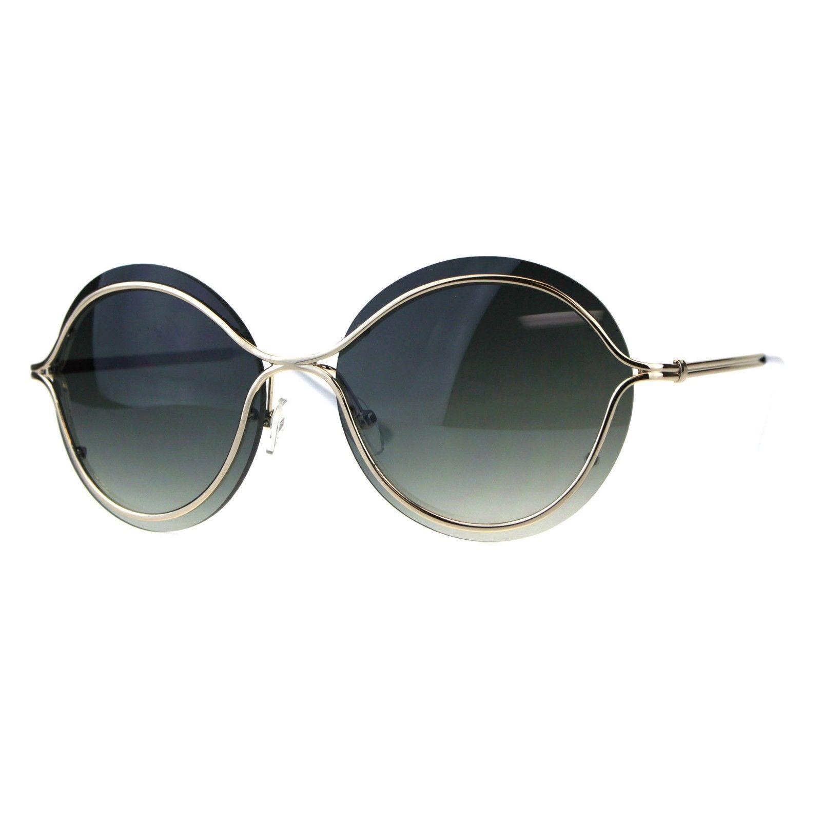 Womens Round Sunglasses Unique Gold Metal Rims Over Lens UV 400