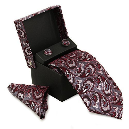 Berlioni Men's Silk Neck Tie Box Set With Cufflinks & Pocket Square (2094 - Red