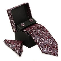Berlioni Men's Silk Neck Tie Box Set With Cufflinks & Pocket Square (2094 - Red