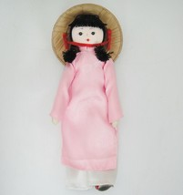 "Chinese Doll Stockinette 8"" Palm Hat Pink Satin Long Top White Trousers - $9.89"