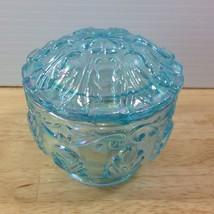Fenton Blue Green Iridescent Trinket Box Carnival Glass Leaf Pattern Opalescent - $46.74