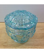Fenton Blue Green Iridescent Trinket Box Carnival Glass Leaf Pattern Opa... - $46.74