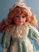 """Victorian Doll Dressed In Mint Green Certificate of Authenticity 17""""  - $14.85"""