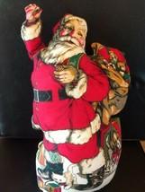 "Vintage 19"" Santa Claus bag CHRISTMAS gifts cat fog throw pillow door st... - $29.00"