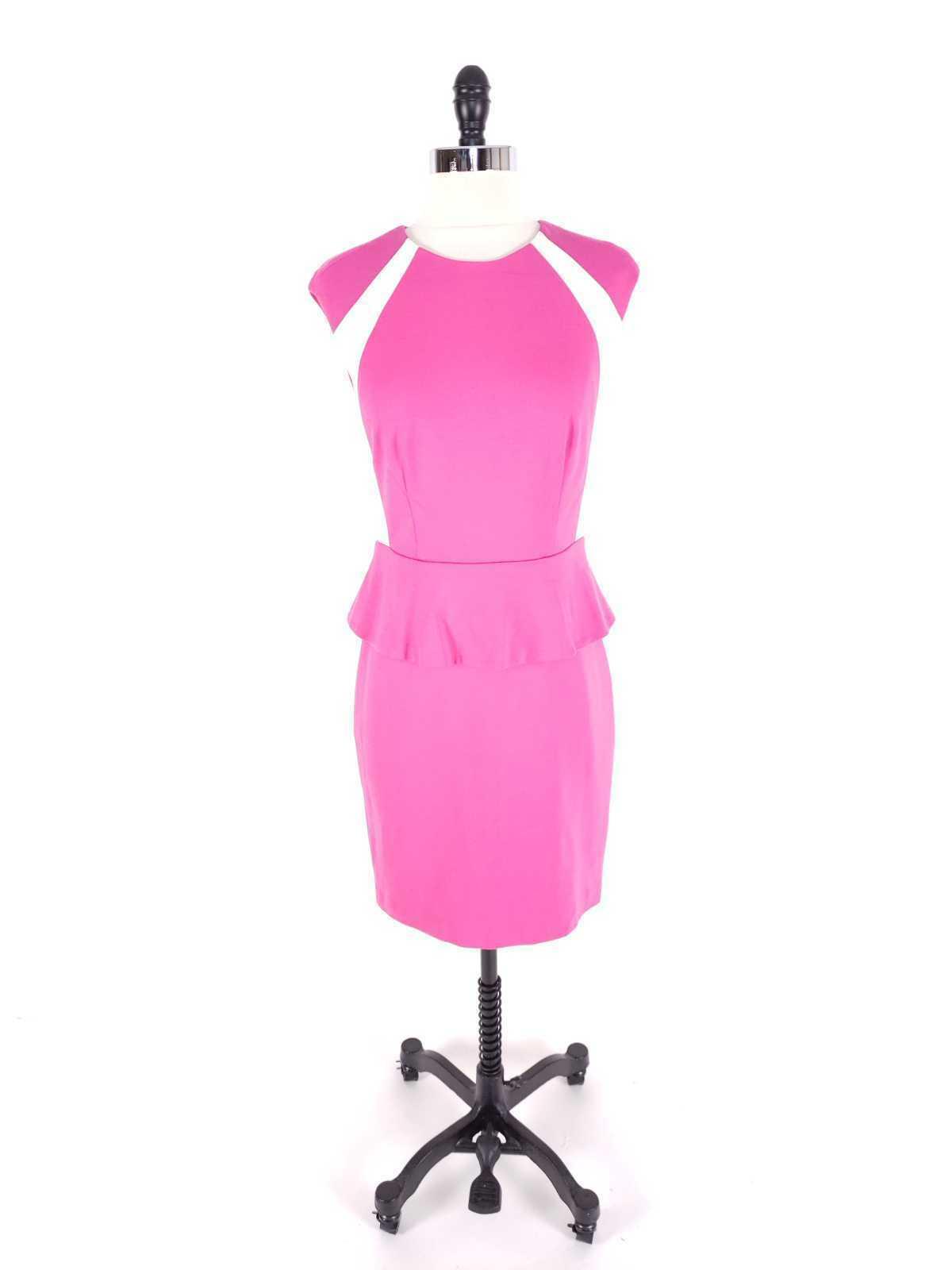 Cynthia Steffe Women Dress Size 2 NWT $198 Peplum Pencil Ponte Knit Sleeveless