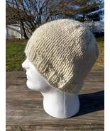 Mens Beanie Hat Alpaca Wool Cap Hand Knitted Slouch Cream White Handmade... - $29.40