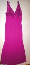 Womens New Designer Natori Night Gown Long M Medium Purple Pink Lace NWT... - $136.50