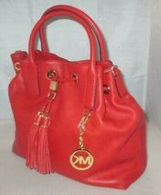 MICHAEL KORS CAMDEN LEATHER DRAWSTRING RED GOLD CROSSBODY LARGE SATCHEL BAG NWT image 3