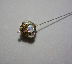 Antique Hatpin Crystals Brass Filigree - $21.60