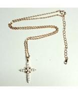 N48 Dainty Rose Gold Tone CZ Mini Double Fair Cross Design Pendant Necklace - $8.99